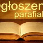 VI NIEDZIELA ZWYKŁA  OGŁOSZENIA DUSZPASTERSKIE 16/02/2020